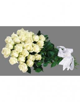 Bouquet of 25 white Dutch roses | Flowers for Holiday