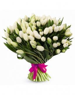 Bouquet of 51 white tulips | Tulips