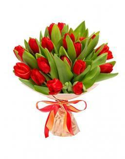 Bouquet of 25 red tulips | Tulips