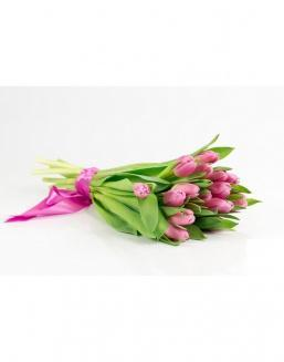Bouquet of 15 pink tulips | Tulips