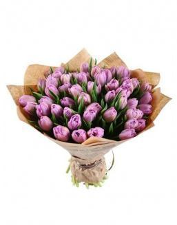 Bouquet of 51 violet tulips | Tulips