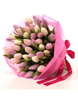 Bouquet of 51 pink tulips | Tulips