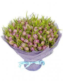 Bouquet 101 violet tulips | Flowers for Holiday