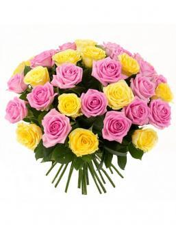 Bouquet mix of 33 pink and yellow roses | Flowers for Holiday