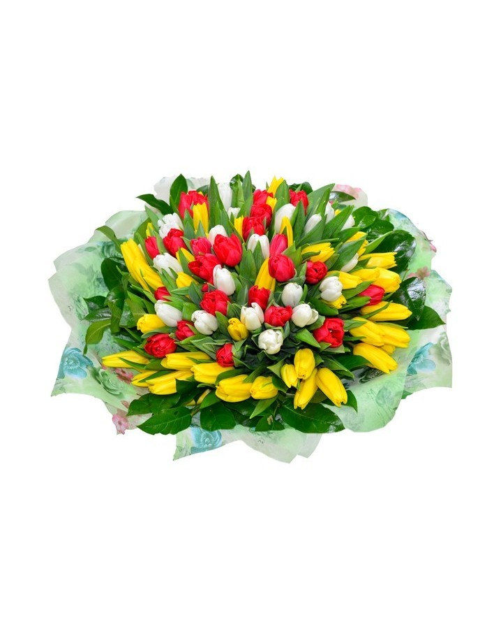 Mix bouquet 101 tulips